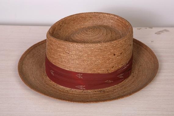 Vintage Men s 1930 s Adam Regent Pork Pie Straw Hat 7  4888ef17a46