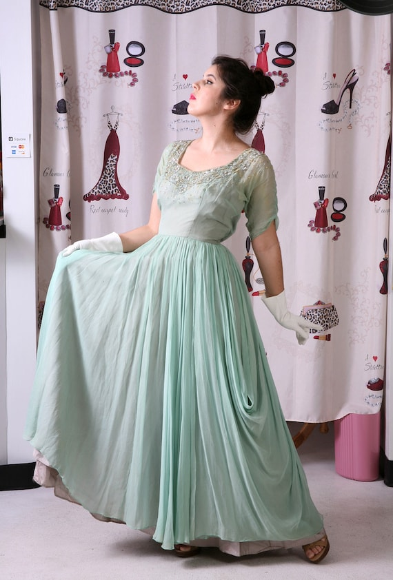 Vintage 1940's FRANK STARR Silk Beaded Mint Gown P
