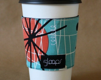 Reusable Coffee Cup Cozy- Atomic Print in Turquoise and Coral Reusable Coffee Cup Sleeve