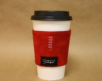 Red Flannel Reusable Coffee Cup Cozy Red Reusable Coffee Cup Sleeve