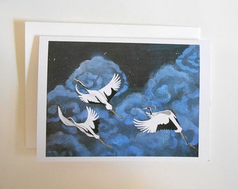Cranes Blank Note Card
