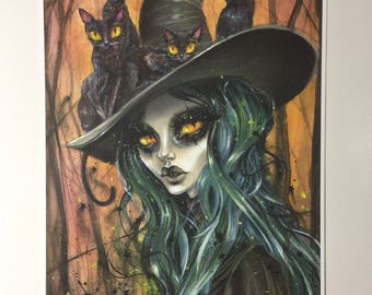 "Cat in the hat, with Jade Witch by Dustin Bailard. 14x9.5"" art print"