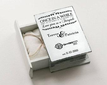 White ring bearer box, Personalized wedding box, Custom ring box, Wedding Ring Box, Engagement box, Ring Bearer Pillow, Proposal box