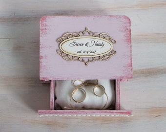 Pink Ring Box, Rustic Ring Bearer Box, Personalized Wedding Box, Wedding Ring Box, Ring Bearer Pillow, Engagement box, Wedding Ring Holder
