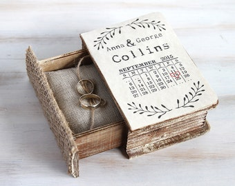 Save the Date Wedding Ring Box Ring Bearer Box Calendar Wedding Box Personalized Wedding Box Ring Pillow Keepsake Box Custom Wedding Holder