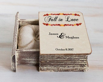 Autumn Wedding Ring Box Personalized Ring Bearer Box  Fall Wedding Box Rustic ring box Engagement ring box Ring pillow proposal box holder