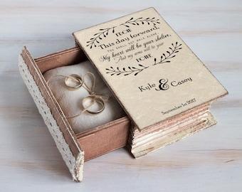 Ring bearer box, personalized ring box, Wedding ring box, Unique wedding box, Engagement ring box, Jewellry box Wedding ring holder Book box