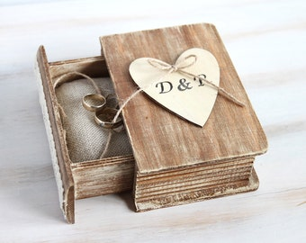 Rustic wedding box, Ring bearer box, Personalized ring box, Engagement ring box with Pillow, Wedding ring holder, Custom ring box, Book Box