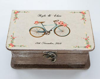 Bicycle Wedding box, Personalized ring box, Wedding Ring Box Floral ring bearer box Еngagement ring box Ring holder Custom ring box Book box