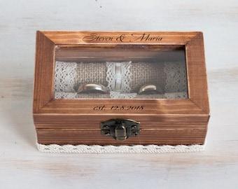 Personalized ring box Wedding ring box Ring bearer box Glass Wedding box Engraved ring box Proposal box Ring bearer pillow Custom box holder