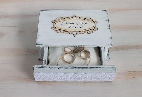 White Wedding Ring Box Personalized Ring Box Rustic Ring Etsy