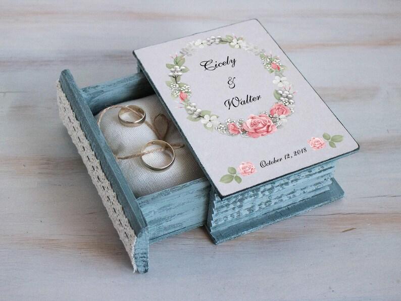 Pink Wedding ring box Floral Wreath box Personal wedding box Pink roses box Rustic ring box \u0415ngagement Box Proposal Spring Ring bearer box