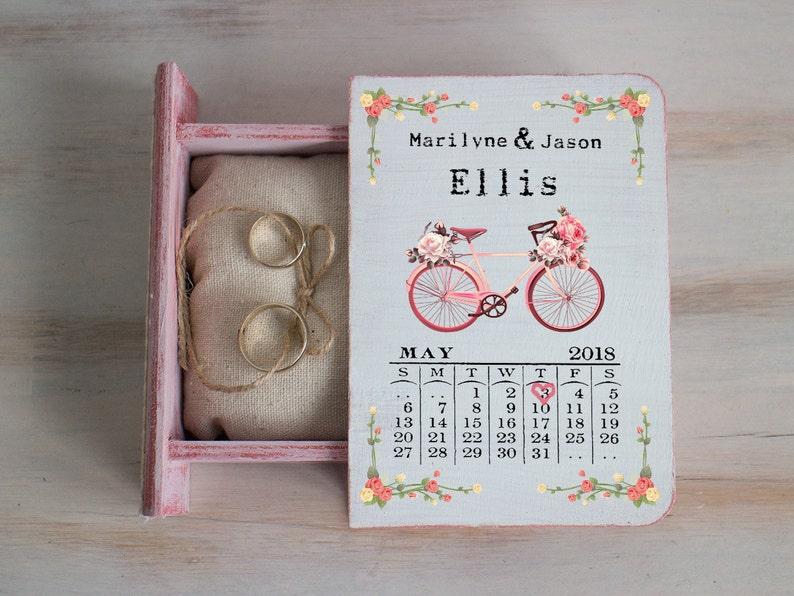 Pink Ring Bearer Box Wedding Ring Box Bicycle Wedding Box Personalized Ring Box Save The Date еngagement Box Ring Holder Calendar Ring Box