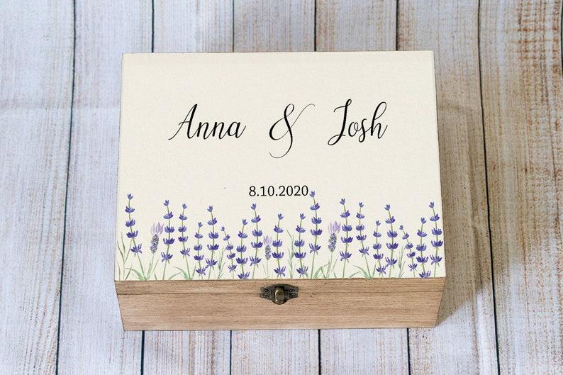 Lavendel Kaart Doos Gepersonaliseerde Bruiloft Kaart Box Houten Aandenken Box Beige Aangepaste Kaart Doos Geheugen Doos Trouwkaart Houder Kaart