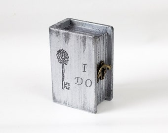 Wedding Ring Box, Ring Bearer Box, Pillow Alternative, Grey Ring Bearer Box, I Do Personalized Ring Bearer Box, Wedding Ring Holder