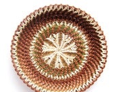 RESERVED FOR LAURA Harvest table decor Woven plate Rustic interior home decor Ethnic wheat ear pattern Green and chestnut brown