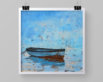 """Fine Art Print of  """"Row Boat Cast Adrift""""  from an  Original Oil Painting 8 x 8 or 11 x 11 inches"""
