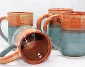 Coffee Mug Flower Stamp Ceramic Mug Pottery Mug in Rust and Earthy Teal or Build a Mug Set