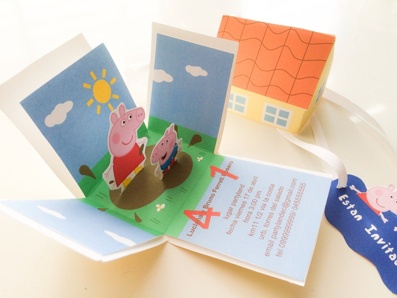 image regarding Peppa Pig Printable Invitations known as Exploding Box Peppa Pig printable invites