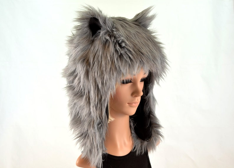 a364f7db7eaf6 Gray Wolf Hat Faux Fur Animal Hat For Women and Men