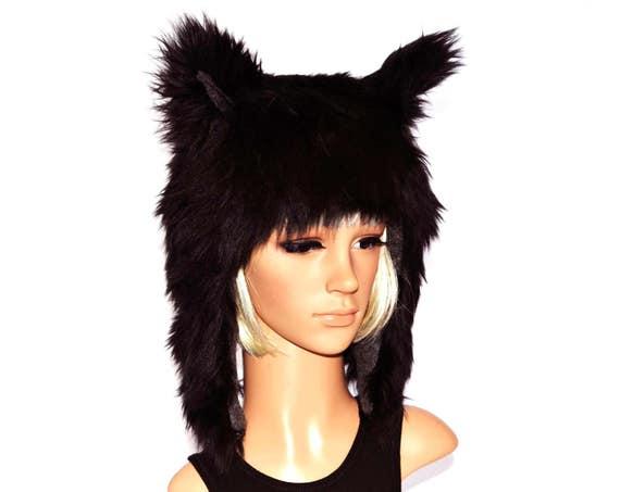 Black Wolf Hat Faux Fur Animal Hat  c359b0351f8