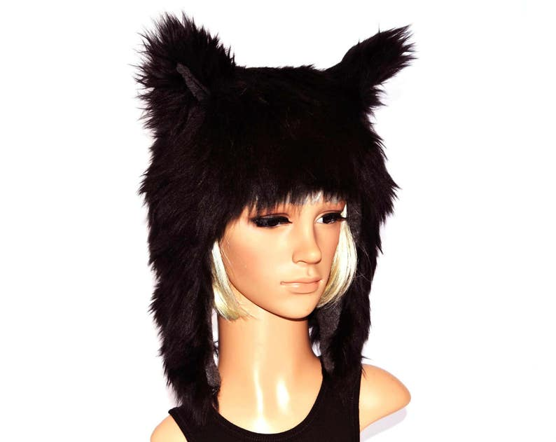 430d332e98928 Black Wolf Hat Faux Fur Animal Hat