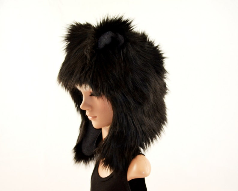82f8d2dc14e64 Black Bear Hat Faux Fur