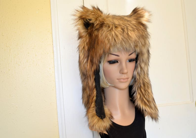 f336cf5a56515 Brown Bear Hat Faux Fur Animal Hat Grizzly