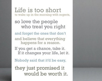 Life Is Too Short Etsy