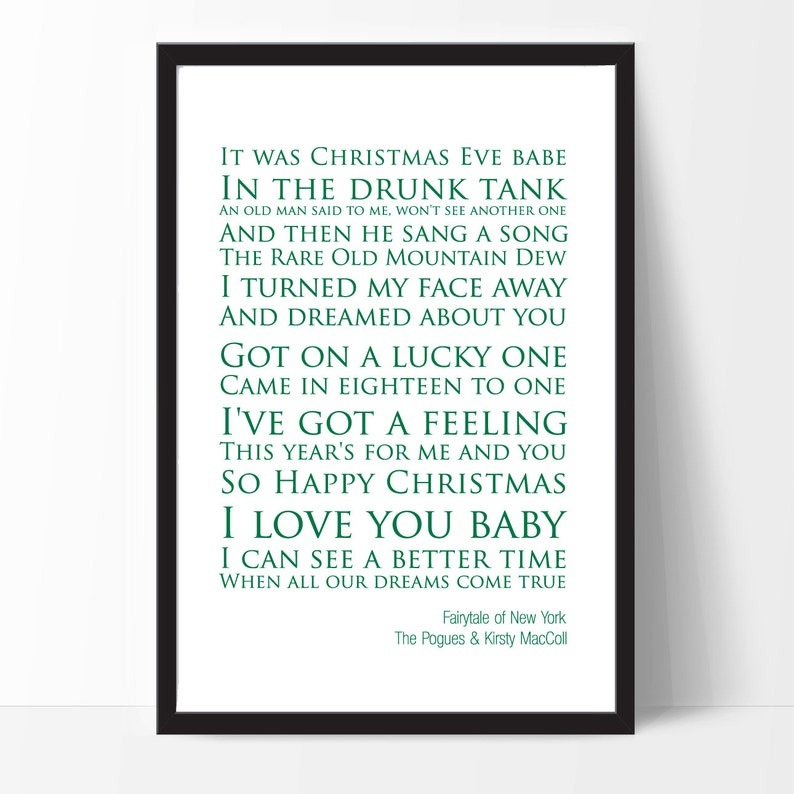 picture about Auld Lang Syne Lyrics Printable identify Fairytale of Clean York - The Pogues Kirsty MacColl Lyrics Print.