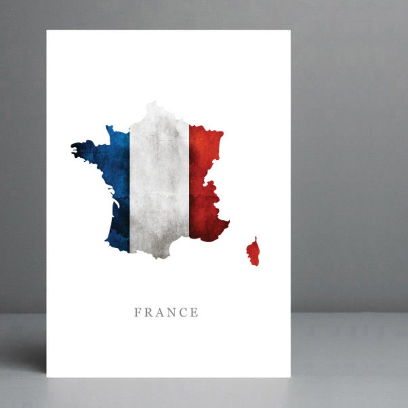 A4 Map Of France.Flag Map Of France Wall Art Print 8x10 On A4 Archival Matte Paper