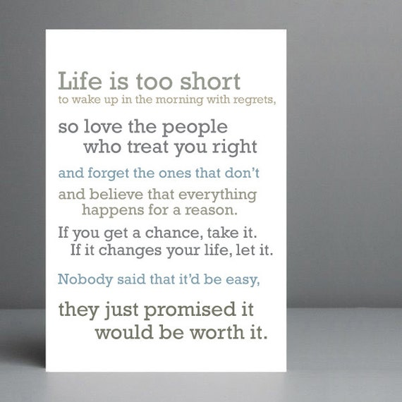 Life Is Too Short Quote Typography Art Print 8x10 On A4 Etsy