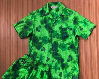 Men's Vintage 50s-60s Royal Hawaiian Green Islands Cabana Set-XS-The Hana Shirt Co