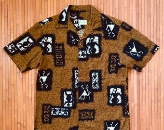 Men's Vintage Ui Maikai Polynesian Petrogylphs Hawaiian Shirt-M-The Hana Shirt Co