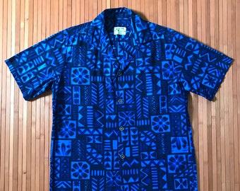 Men's Vintage 60s-70s Ui-Maikai Hawai'i Blues Aloha Shirt-M-The Hana Shirt Company