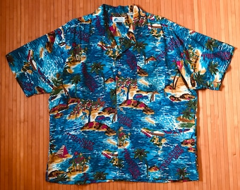 Men's Vintage Islander 'Treasure Island' Aloha Shirt-XL-The Hana Shirt Co