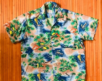 Men's Vintage 60's Aloha Shirts Rayon Weekends at the Beach Shirt-SM-The Hana Shirt Company