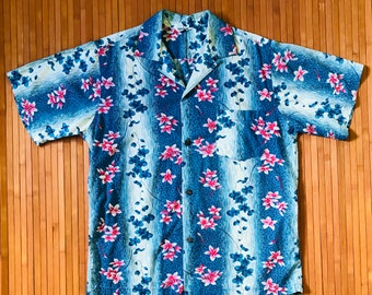 Men's Vintage 60s Made in Hawaii Vertical Orchid Plumeria Print Aloha Shirt-M-The Hana Shirt Co