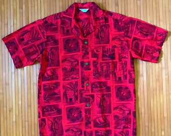 Men's Vintage 40s-50s Hookano Picturesque Hawaiian Aloha Shirt-SM-The Hana Shirt Co