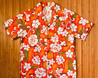 Men's Vintage 60's Royal Hawaiian Polynesian Floral Aloha Shirt-S-The Hana Shirt Co