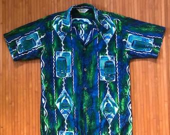 Men's Vintage 60s-70s Paradise Hawaii Bongo Beatin' Aloha Shirt-M-The Hana Shirt Co