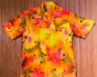 Men's Vintage 50s-60s The Sample Shop Tropical Sunrise Hawaiian Shirt-M-The Hana Shirt Co