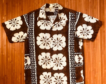 Men's Vintage 70's Polynesian Bazaar Tapa Treasure Hawaiian Shirt-XL-The Hana Shirt Co