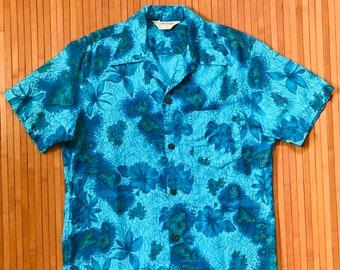 Men's Vintage 50s-60s Royal Hawaiian Blue Islands Aloha Shirt-M-The Hana Shirt Co