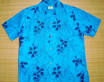 Men's Vintage 60s Ui Maikai Tropical Luau Gold Accents Hawaiian Shirt - M - The Hana Shirt Co