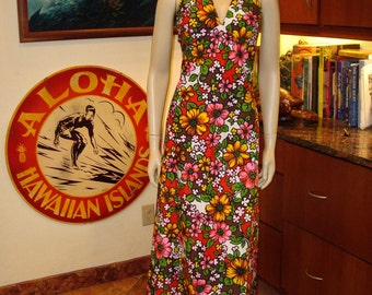 Vintage 60s Floral Halter Hawaiian Dress - S - The Hana Shirt Co