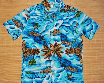 Mens Vintage 70s Hawaiian K Mart Designed & Styled in California Surfer Tiki Shirt - S -The Hana Shirt Co