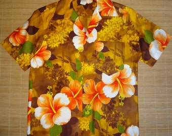 Mens Vintage 60s Tribal Floral Wonder Hawaiian Shirt - S -The Hana Shirt Co