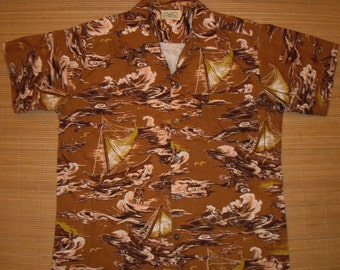 Men's Vintage 50s Surfriders DEAD STOCK Cotton Hawaiian Aloha Shirt - S - The Hana Shirt Co