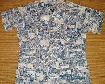Mens Vintage 70s Hawaii 4 Pocket Belt Captains Surfing Reverse Print Hawaiian Shirt - L - The Hana Shirt Co